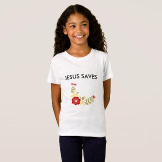 Jesus salvar o t-shirt fino do jérsei camiseta