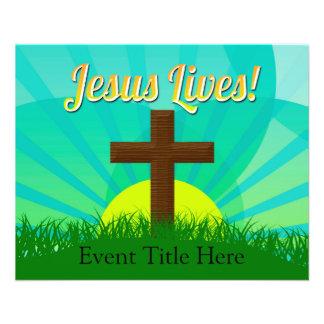 Jesus vive azul/cruz cristã páscoa de Brown Panfletos Personalizados