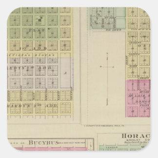 Jetmore, cidade de Scott, Hanston, Bucyrus, Kansas Adesivo Em Forma Quadrada