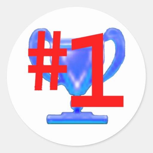 jGibney azul do copo do troféu os presentes de Adesivos Redondos