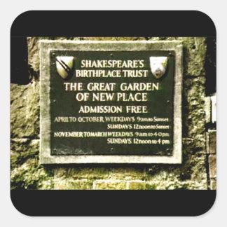 jGibney do nascimento de Stratford-em cima-Avon Adesivo Quadrado