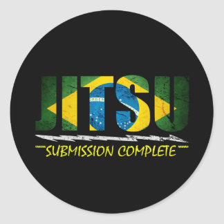 Jitsu - etiqueta completa da submissão de BJJ Adesivo Em Formato Redondo