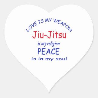 Jiu-Jitsu é minha religião Adesivo Coração