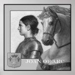 Joana do arco e do seu cavalo de guerra posteres