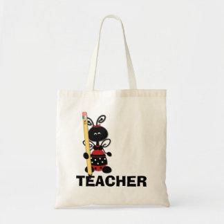 Joaninha com a sacola do professor do lápis bolsa tote