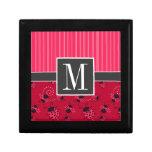 Joaninha cor-de-rosa & preto elegante estojo para jóia