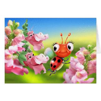 Joaninha do cartão de nota & flores amigáveis