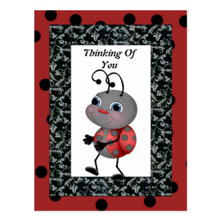 Joaninha dos desenhos animados que pensa de você cartão postal