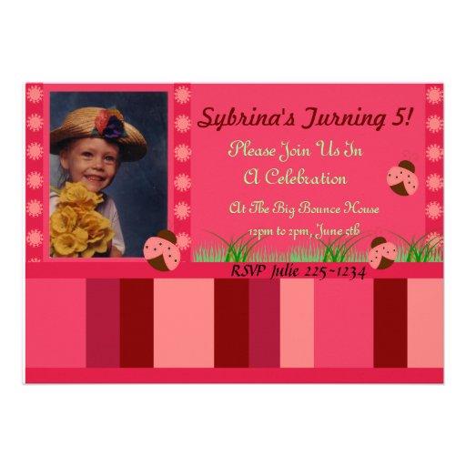 Joaninha e convite das listras do rosa