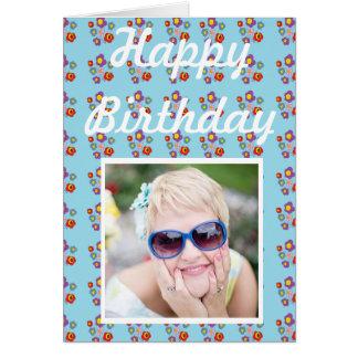 joaninha e flores - cartão de aniversário