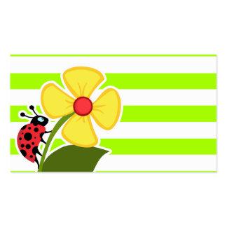 Joaninha em listras horizontais do verde limão elé cartão de visita