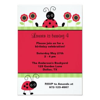 Joaninhas vermelhos pequenos convite 12.7 x 17.78cm
