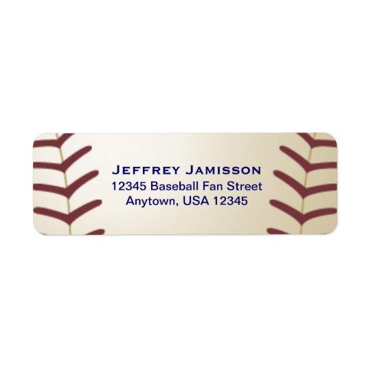 Jogador de beisebol, etiqueta do nome e endereço