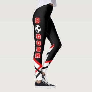 Jogador de futebol vermelho, branco e preto leggings