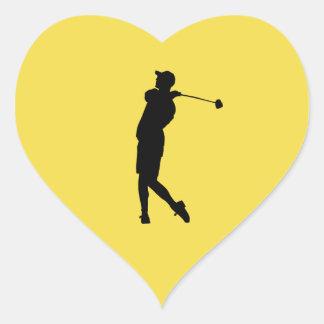 Jogador de golfe adesivo coração