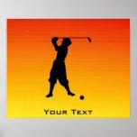 Jogador de golfe amarelo alaranjado do vintage poster