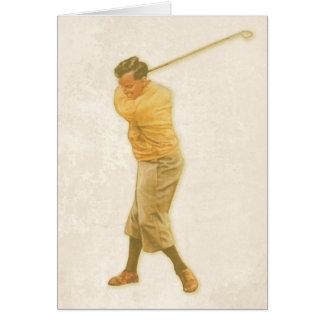 Jogador de golfe do withVintage do cartão