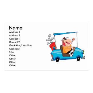 jogador de golfe engraçado no carro de golfe cartão de visita