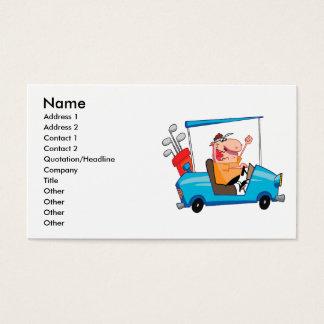 jogador de golfe engraçado no carro de golfe cartão de visitas