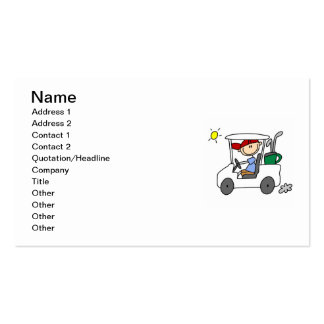 Jogador de golfe no carro de golfe cartão de visita