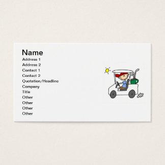 Jogador de golfe no carro de golfe cartão de visitas