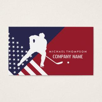 Jogador de hóquei, bandeira dos Estados Unidos, Cartão De Visitas