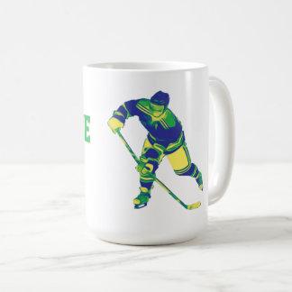 Jogador de hóquei em gelo azul & verde, caneca