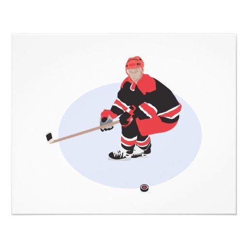 jogador de hóquei em gelo pronto para golpear panfletos personalizados