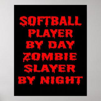 Jogador de softball pelo assassino do zombi do dia pôster