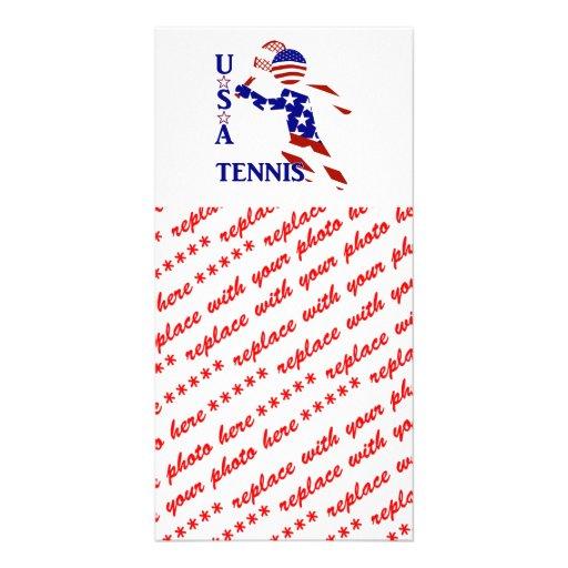 Jogador de ténis dos EUA - o tênis dos homens Cartões Com Foto Personalizados