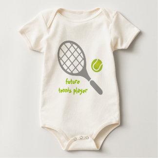 Jogador de ténis, raquete de tênis e bola futuros body para bebê