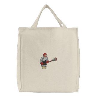 Jogador do Lacrosse bordado no saco Bolsas Bordadas