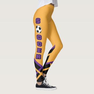 Jogador do ouro, o preto e o roxo de futebol leggings