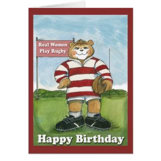 Jogador do rugby - cartão de aniversário fêmea