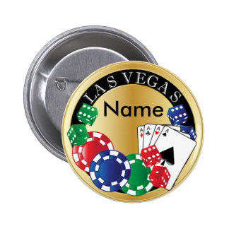 Jogador Las Vegas do ouro - dado, cartões, Bóton Redondo 5.08cm