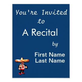 jogador mexicano do violino convite 10.79 x 13.97cm