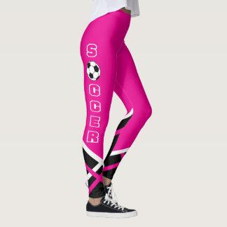Jogador quente de rosa, branco e preto de futebol leggings