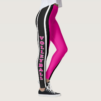 Jogador quente de rosa, branco e preto de voleibol leggings