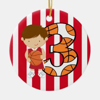 Jogador vermelho e branco do aniversário de 3 anos ornamento de cerâmica redondo