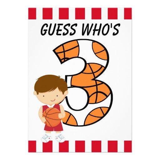 Jogador vermelho e branco v2 do aniversário de 3 a convite personalizados