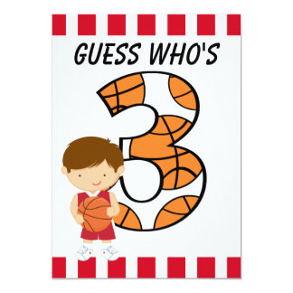 Jogador vermelho e branco v2 do aniversário de 3 convite 12.7 x 17.78cm