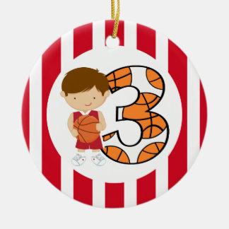 Jogador vermelho e branco v2 do aniversário de 3 ornamento de cerâmica redondo