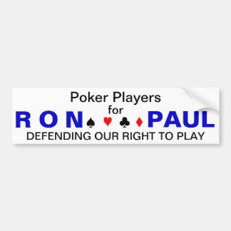 Jogadores de póquer para Ron Paul Adesivo Para Carro