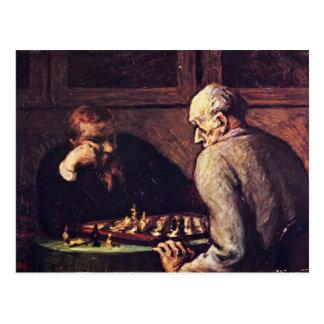 Jogadores de xadrez por Daumier Honoré Cartão Postal