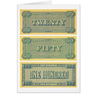 Jogo 20 do confederado do dinheiro do vintage 50 cartão comemorativo