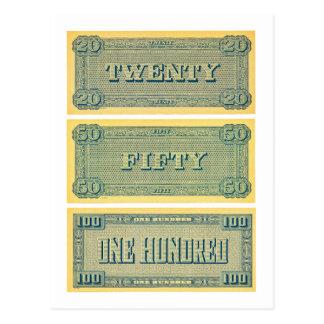 Jogo 20 do confederado do dinheiro do vintage 50 cartão postal