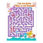 Jogo bonito do quebra-cabeça do labirinto dos dino cartao postal