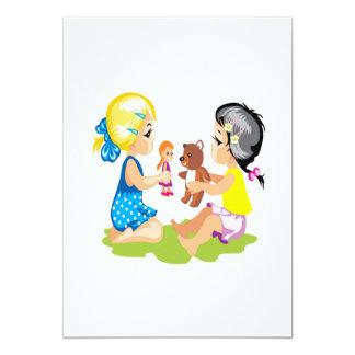Jogo com bonecas convite 12.7 x 17.78cm
