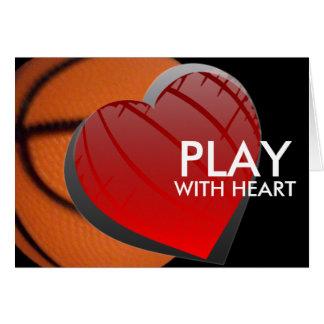 Jogo com o cartão de cumprimentos do basquetebol