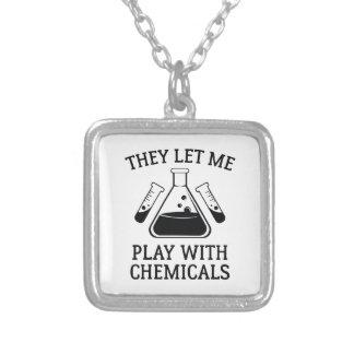 Jogo com produtos químicos colar banhado a prata